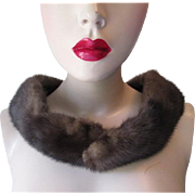 Brown Mink Fur Collar Vintage 1940s Clip On Collar Bands