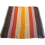 Vera Neumann Striped Silk Scarf Vintage 1970s Fall Colors Signed Accessory