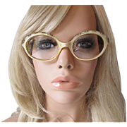 Mod Lucite Eyeglasses Frames Vintage 1960s French Jeweled Pearl Ivory Yellow Glasses