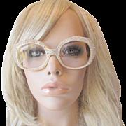 Mod Rhinestone Lucite Eyeglasses Vintage 1960s Over The Top Elton John Glasses Frames