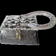 Rialto Lucite Box Purse Vintage 1960s Grey Clear Barrel Bag Handbag