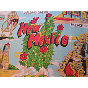 Large New Mexico Souvenir Scarf Vintage 1960s Rayon Silk Hand Rolled Bestmaid Deadstock