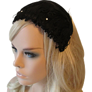 Black Feather Hat Vintage 1940s Cocktail Whimsy Topper Wide Headband Rhinestones