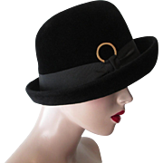 Womens Cloche Hat Vintage 1960s Soft Ink Black Wool Felt Gene Davis New York 22.5