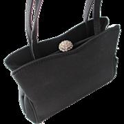 Harry Levine Vintage 1940s Black Evening Bag Rhinestone Button Clasp