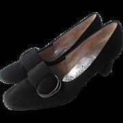 Mod Vintage 1960s Womens Black Naturalizer Stadium Shoes Pumps Rhinstone Buckles