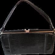 Embossed Leather Lizard Purse Vintage 1950s Black Gold Metal Frame Handbag