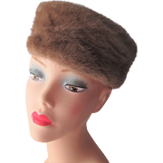 Mink Fur Pillbox Hat Vintage 1950s Knob Top Honey Brown Styled By Coralie Caramel