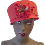 Womens Red Straw Pillbox Hat Vintage 1950s Millinery Flowers Satin Brim