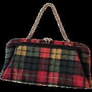 Plaid Wool Clutch Purse Vintage 1970s Christmas Colors Bifold Chain Handle