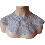 Blue Crocheted Lace Bib Collar Vintage 1980s Cotton Victorian Revival Womens Accessory