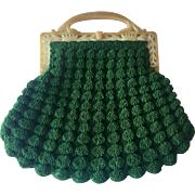 Art Deco Clutch Purse Vintage 1920s Green Crocheted Popcorn Bubble Ornate Celluloid Frame Handle