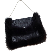Vintage 1950s Black Leather Mink Fur Evening Purse Mother Of Pearl Snap