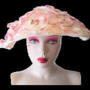 Wide Brim Floral Hat Vintage 1960s Millinery Flowers Mushroom Cartwheel
