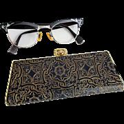 Vintage 1950s Etched Aluminum Cat Eye Glasses Eyeglasses Frames Mid Century Modern Case