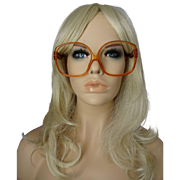 Huge Christian Dior Vintage 1970s Eyeglasses Frames Amber Lucite Designer Eyewear
