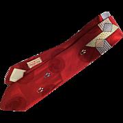 Mens Vintage 1950s Jacquard Necktie Tie Mid Century Modern Pilgram Cravats
