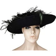 Black Wool Felt Wide Brim Womens Hat Ostrich Feathers Vintage 1960s Sonni of San Francisco