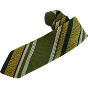 Vintage 1960s Woven Olive Diagonal Stripe Tie Necktie Menswear Accessory