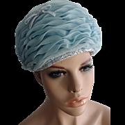 Vintage 1960s Nylon Ruffles Sunday Church Pillbox Hat Powder Blue Chapeaux