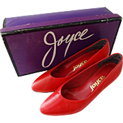 Lipstick Red Leather Pumps Vintage 1980s Womens Heels Shoes Never Worn