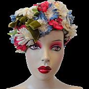 Vintage Pillbox Hat 1960s Millinery Flowers Bow