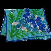 Floral Vera Neumann Head Scarf Vintage 1960s Blue Green  Ladybug Signed