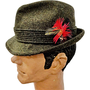Stetson Fedora Hat Vintage 1970s Mens Flip Brim Olive Green Wool Feathers
