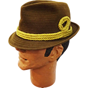 Mens Fedora Hat Vintage 1970s Brown Wool Felt Rope Trim Champ