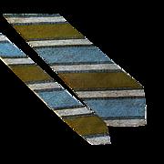 Mens Necktie Vintage 1970s Beau Brummel Dandyism Diagonal Stripe Cravat