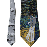 Wide Novelty Tie Necktie Vintage 1970s Venture Loving Couple Embrace