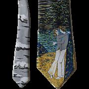 Wide Novelty Tie Necktie Vintage 1970s Venture Loving Couple Embrace