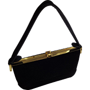 Vintage Black Box Purse Handbag Ingber 1950s Black Velvet Top Handle Bag