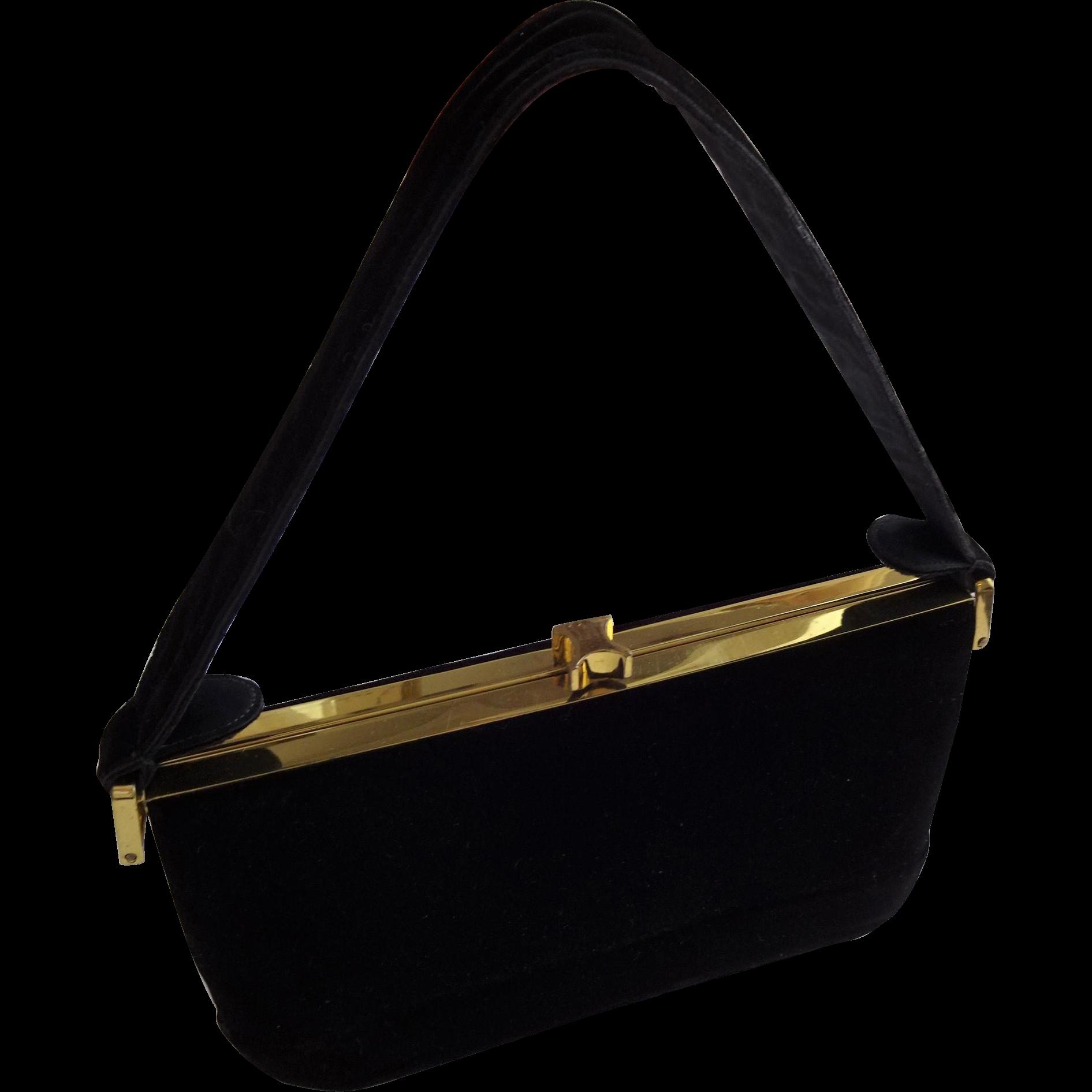 Vintage Black Box Purse Handbag Ingber 1950s Black Velvet Top ...