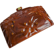Amber Lucite Clutch Purse Vintage 1950s Rhinestone Womens Handbag Bag