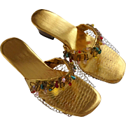 Womens Sandals House Slippers Gold Lame Beaded Vintage 1950s Hong Kong Never Worn