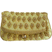 Vintage Clutch Purse Yellow Gold Beaded 1950s Rhinestone Evening Bag Handbag Hong Kong