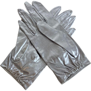 Vintage Silver Gloves 1950s Wristlet Lame Metallic Stretch Nylon