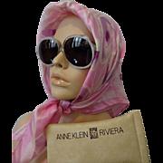 Mod White Lucite Sunglasses Vintage 1960s Designer Anne Klein In Case Italy Italian