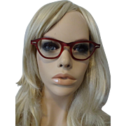 Cat Eye Glasses Eyeglasses Vintage 1950s Red Lucite Pinup Rockabilly Swing Womens Accessory