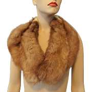 Red Fox Fur Stole Collar Vintage 1940s Womens Accessory