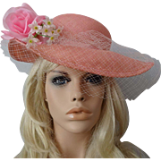 Pink Straw Wide Brim Hat Vintage 1960s Veil Millinery Rose Easter Church Southern Belle