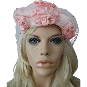 Pink Floral Hat Veil Vintage 1950s Cocktail Whimsy Topper Millinery Flowers