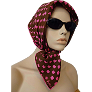 Silk Vera Neumann Scarf Vintage 1960s Signed Ladybug Pink Brown