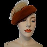 Vintage 1940s Velvet Fox Fur Beret Tam Womens Hat