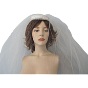 Vintage 1950s Wedding Veil Hat Faux Pearl Bow Satin Bride Bridal