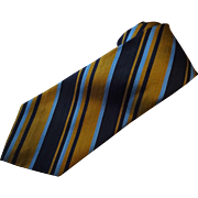 Mens Silk Diagonal Stripe Necktie Tie Vintage 1950s Pure Silk Wide Richman Gordman