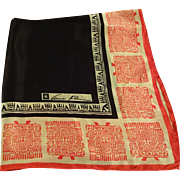 Anne Klein Asian Silk Scarf Vintage 1960s Square Black Red White