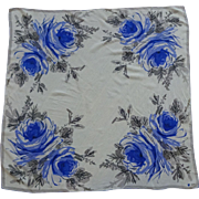 Vera Neumann Sheer Silk Floral Head Scarf Vintage 1960s Blue Roses Flowers