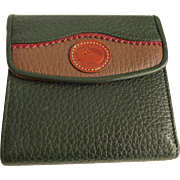 Dooney and Bourke Wallet Vintage 1980s Forest Green Brown Window ID Kisslock Coin Pocket